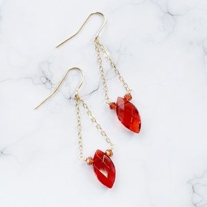 Jewelry - Handmade One Of A Kind Red and Gold Earrings